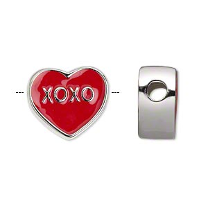 bead, dione, silver-plated pewter (zinc-based alloy) and enamel, red, 17x16mm double-sided flat heart with xoxo, 4mm hole. sold individually.