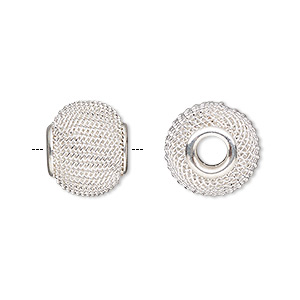 bead, dione, silver-plated steel, 14x12mm mesh rondelle with 4mm hole. sold per pkg of 6.