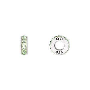 bead, dione, swarovski crystals / sterling silver / epoxy, peridot and light green, 9x3mm rondelle with 4.5mm hole. sold individually.