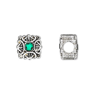 bead, dione, swarovski crystals and antique silver-plated pewter (tin-based alloy), emerald, 11x11mm double-sided filigree flat square with celtic design, 5mm hole. sold individually.