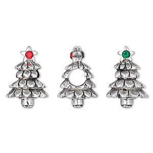 bead, dione, swarovski crystals and antique silver-plated pewter (tin-based alloy), light siam and emerald, 17x12mm 3d christmas tree, 5mm hole. sold individually.