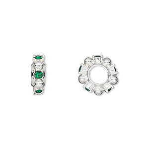 bead, dione, swarovski crystals and silver-plated pewter (tin-based alloy), emerald, 12x4mm beaded rondelle with 2mm faceted round, 5mm hole. sold individually.