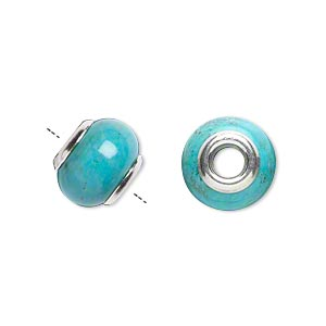 bead, dione, turquoise (imitation) and sterling silver grommets, 11x8mm-13x9mm rondelle with 4mm hole. sold individually.