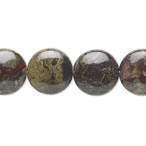 bead, dragon blood jasper (natural), 14mm flat round, b grade, mohs hardness 6-1/2 to 7. sold per 16-inch strand.