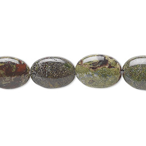 bead, dragon blood jasper (natural), 14x10mm flat oval, b grade, mohs hardness 6-1/2 to 7. sold per 16-inch strand.