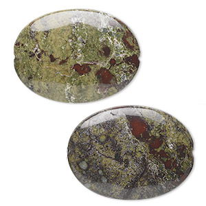 bead, dragon blood jasper (natural), 40x30mm flat oval, b grade, mohs hardness 6-1/2 to 7. sold per pkg of 2.