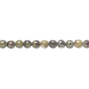 bead, dragon blood jasper (natural), 4mm round, b grade, mohs hardness 6-1/2 to 7. sold per 16-inch strand.