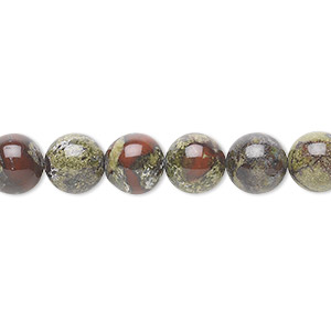 bead, dragon blood jasper (natural), 8mm round, b grade, mohs hardness 6-1/2 to 7. sold per 16-inch strand.