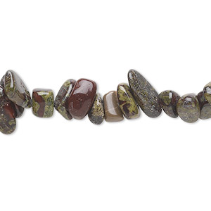 bead, dragon blood jasper (natural), medium chip, mohs hardness 6-1/2 to 7. sold per 36-inch strand.