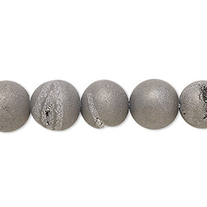 bead, druzy agate (coated), opaque grey, 10mm hand-cut round, mohs hardness 6-1/2 to 7. sold per 8-inch strand, approximately 20 beads.
