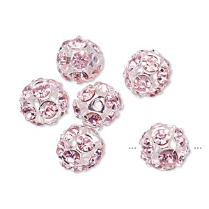 bead, egyptian crystal rhinestone and imitation rhodium-plated brass, pink, 10mm round. sold per pkg of 6.