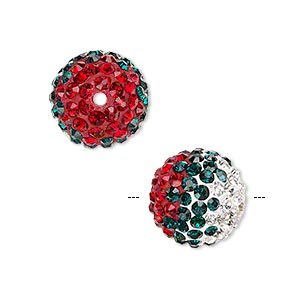 bead, egyptian glass rhinestone / epoxy / resin, multicolored, 14mm round with pave wave design. sold individually.