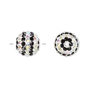 bead, egyptian glass rhinestone / epoxy / resin, white / black / clear ab, 12mm round with pave striped design. sold individually.