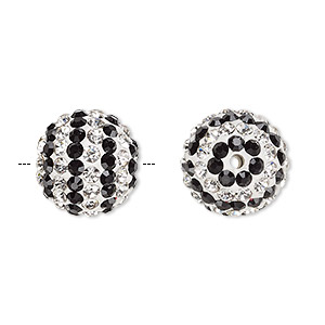 bead, egyptian glass rhinestone / epoxy / resin, white / clear / black, 14mm round with pave striped design. sold individually.