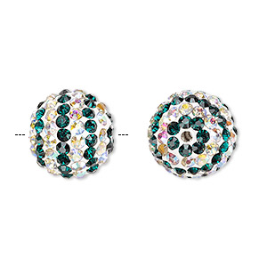 bead, egyptian glass rhinestone / epoxy / resin, white / dark green / clear ab, 14mm round with pave striped design. sold individually.