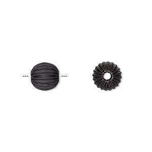 bead, electro-coated brass, black, 8mm corrugated round. sold per pkg of 10.