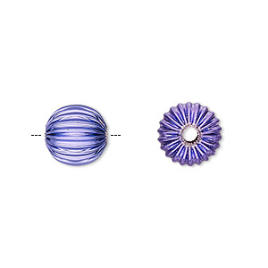 bead, electro-coated brass, purple, 10mm corrugated round. sold per pkg of 10.