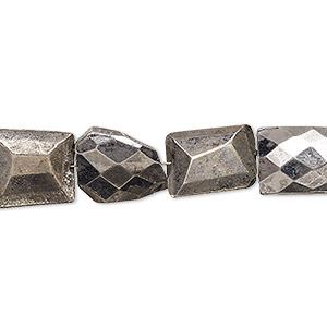 bead, electro-coated pyrite (coated), silver, 9x6mm-15x11mm hand-cut faceted puffed rectangle, c- grade, mohs hardness 6. sold per 7-inch strand.