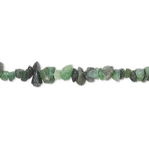 bead, emerald (dyed / oiled), small hand-cut chip with 0.4-1.4mm hole, mohs hardness 7-1/2 to 8. sold per 18-inch strand.