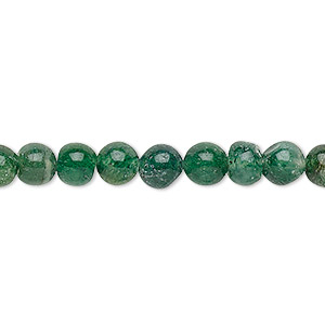 bead, emerald green aventurine (natural), 5-6mm hand-cut round, c grade, mohs hardness 7. sold per 12-inch strand.