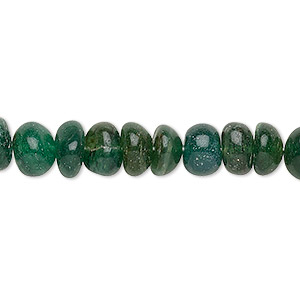 bead, emerald green aventurine (natural), 7x4-9x6mm hand-cut rondelle, c grade, mohs hardness 7. sold per 12-inch strand.