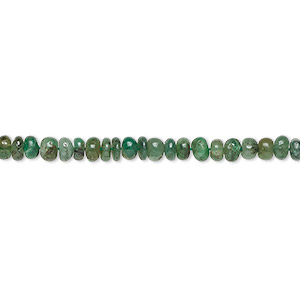 bead, emerald (natural), 3x1mm-4x3mm hand-cut rondelle, c- grade, mohs hardness 7-1/2 to 8. sold per 16-inch strand.