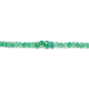 bead, emerald (oiled), 2x1mm-4x2mm graduated faceted rondelle, b- grade, mohs hardness 7-1/2 to 8. sold per 8-inch strand.