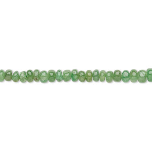 bead, emerald (oiled), 2x1mm-5x3mm graduated hand-cut rondelle, b+ grade, mohs hardness 7-1/2 to 8. sold per 16-inch strand.