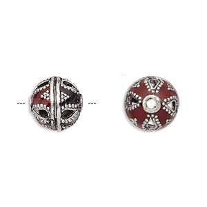 bead, enamel and antique silver-plated brass, opaque red and black, 11mm beaded round. sold per pkg of 2.