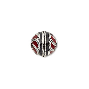 bead, enamel and antique silver-plated brass, opaque red and black, 12.5mm beaded round. sold individually.