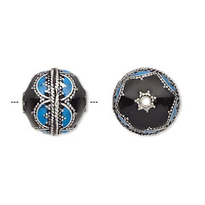 bead, enamel and antique silver-plated brass, opaque turquoise blue and black, 14mm beaded round. sold individually.