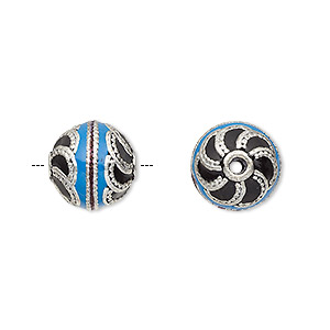 bead, enamel and antique silver-plated brass, opaque turquoise blue and black, 12.5mm beaded round. sold individually.