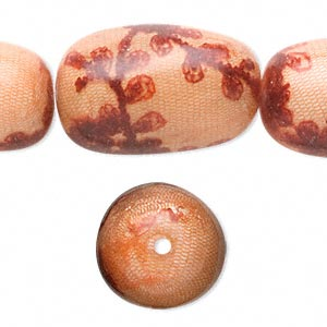 bead, fabric-covered wood (coated), peach and red, 36x23mm drum. sold per pkg of 6.
