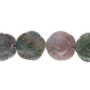 bead, fancy jasper (natural), 14x14mm hand-cut carved flower, b- grade, mohs hardness 6-1/2 to 7. sold per 16-inch strand.
