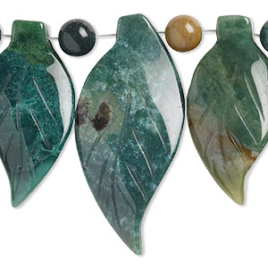 bead, fancy jasper (natural), 40x20mm-50x25mm graduated leaf fan with 10mm round spacers, b grade, mohs hardness 6-1/2 to 7. sold per 7-piece set.