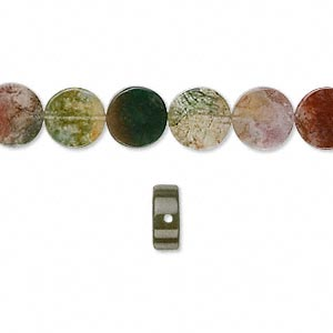 bead, fancy jasper (natural), 8mm flat round, b grade, mohs hardness 6-1/2 to 7. sold per 16-inch strand.