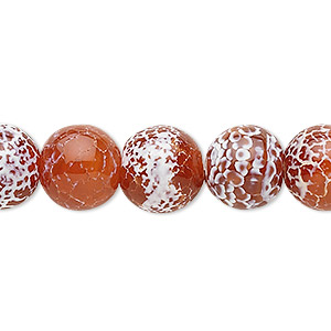 bead, fire crackle agate (dyed / heated), 12mm round, b grade, mohs hardness 6-1/2 to 7. sold per 16-inch strand.