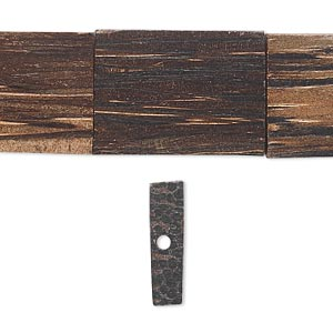 bead, fishtail palm wood (coated), 22x17mm rectangle. sold per 8-inch strand.