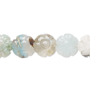 bead, flower amazonite (natural), 12x12mm hand-cut carved flower, b grade, mohs hardness 6 to 6-1/2. sold per 16-inch strand.