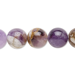 bead, flower amethyst (natural), 12mm round, c grade, mohs hardness 7. sold per 16-inch strand.