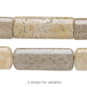 bead, fossil coral (natural), 40x15mm puffed rectangle, b grade, mohs hardness 6-1/2 to 7. sold per 16-inch strand.