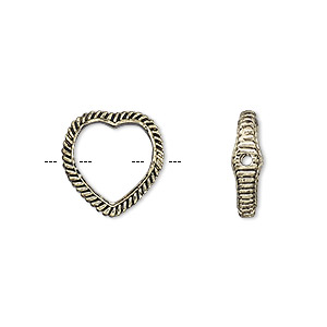 bead frame, antique gold-finished pewter (zinc-based alloy), 14mm open heart with rope edge and 0.7-0.8mm hole, fits up to 10mm bead. sold per pkg of 2.