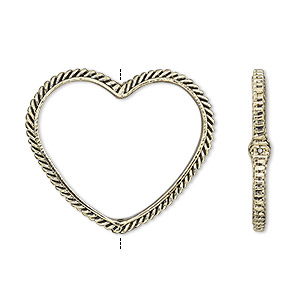 bead frame, antique gold-finished pewter (zinc-based alloy), 28x24mm open heart with rope edge and 0.7mm-0.8mm hole, fits up to 16mm bead. sold per pkg of 2.