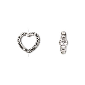 bead frame, antique silver-finished pewter (zinc-based alloy), 12x10.5mm open heart with rope edge with hole and 0.7-0.8mm hole, fits up to 8mm bead. sold per pkg of 2.