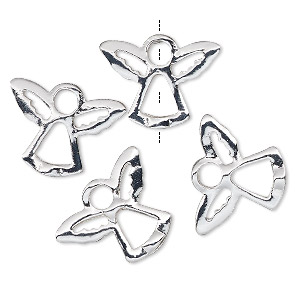 bead frame, silver-finished pewter (zinc-based alloy), 18x14mm angel, fits up to 3mm and 4.5mm bead. sold per pkg of 4.