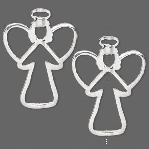 bead frame, silver-finished pewter (zinc-based alloy), 34.5x25.5mm angel with halo, fits up to 1.5mm / 3mm / 9mm beads. sold per pkg of 2.