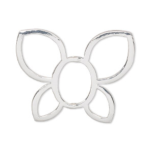 bead frame, silver-finished pewter (zinc-based alloy), 34x26mm butterfly, fits up to 12x9mm bead. sold per pkg of 2.