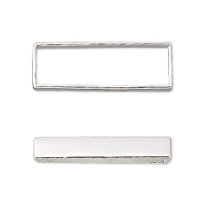 bead frame, sterling silver, 30x10mm rectangle, fits up to 8mm bead. sold individually.
