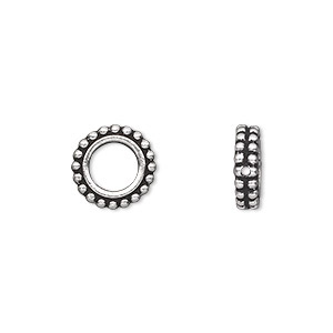 bead frame, tierracast, antique silver-plated pewter (tin-based alloy), 11x3mm beaded flat round, fits up to 6mm bead. sold per pkg of 2.