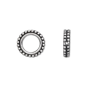 bead frame, tierracast, antique silver-plated pewter (tin-based alloy), 14x3mm beaded flat round, fits up to 8mm bead. sold per pkg of 2.